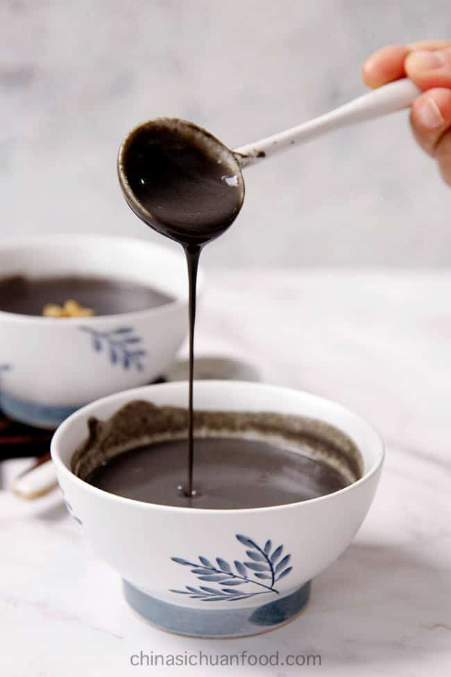 black sesame soup, a traditional Chinese dessert