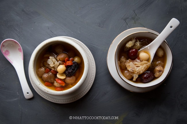 snow fungus soup, a sweet dessert soup from the Cantonese people of China
