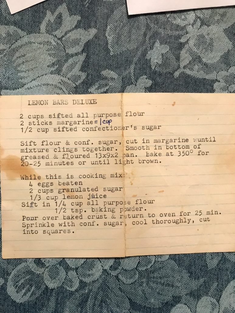 A picture of the original lemon bar recipe from my grandma.