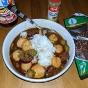 Finished cajun chinese gumbo recipe